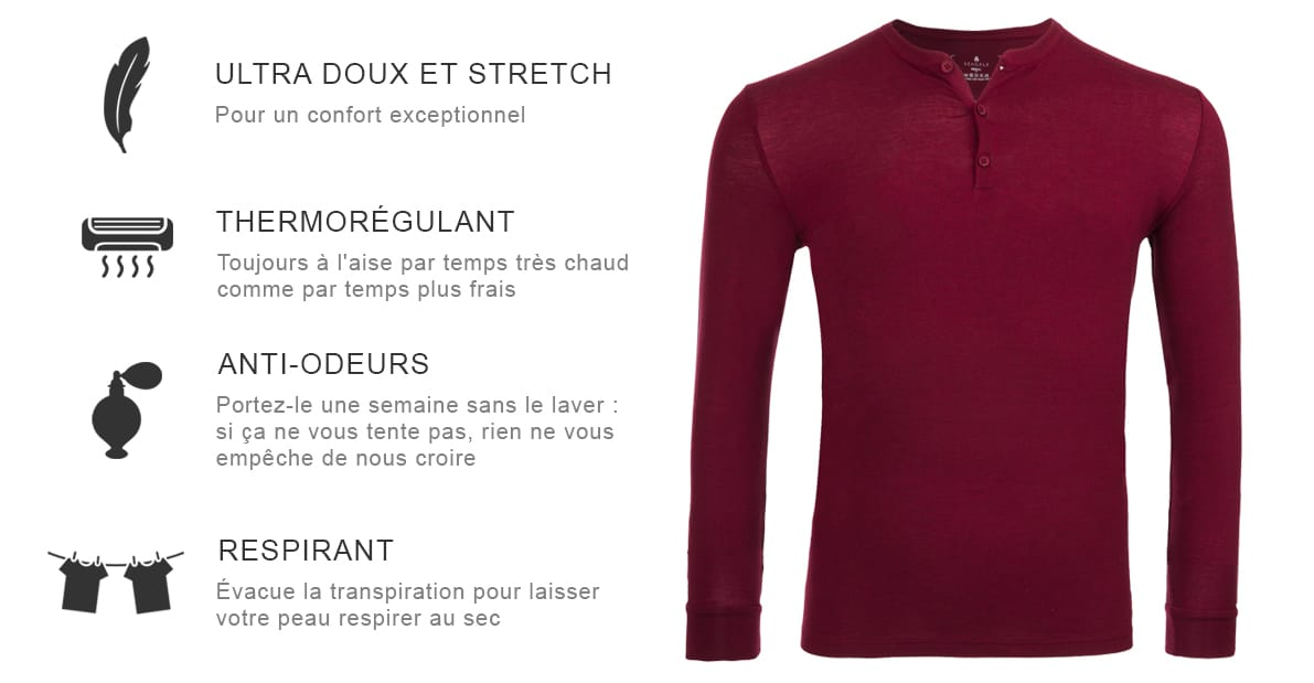 T-shirt henley en laine mérinos