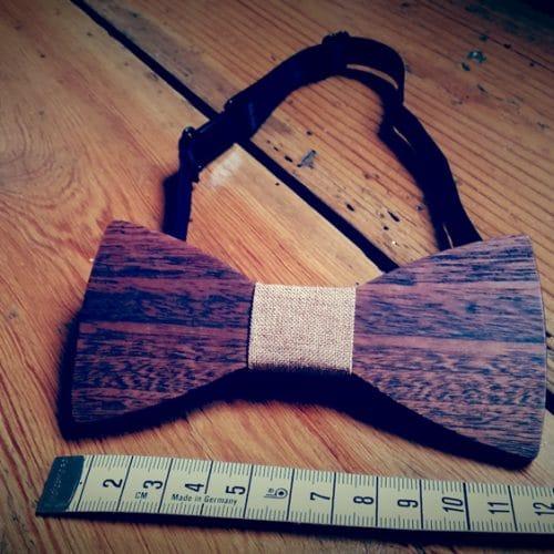 Noeud papillon en bois et lin