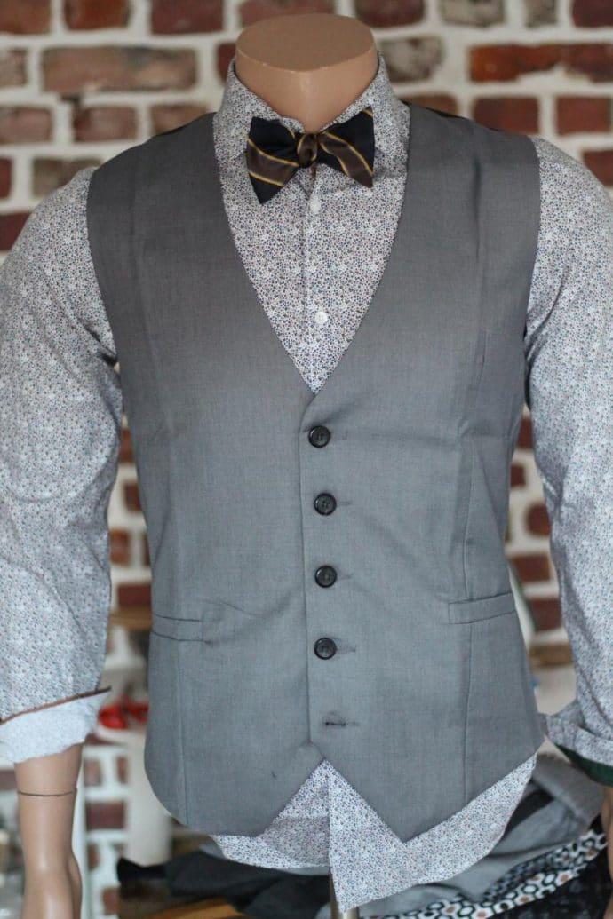 Gilet de costume gris 100% coton
