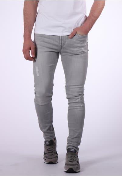 Jean gris délavé, effet déchiré, coupe skinny