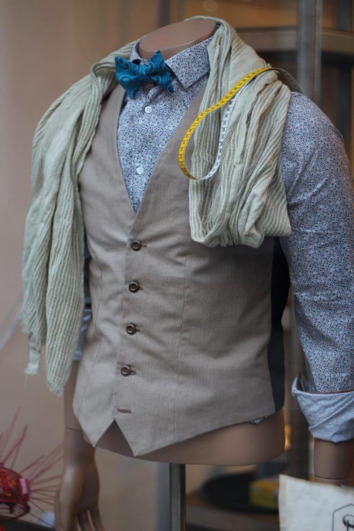 Gilet de costume marron en coton